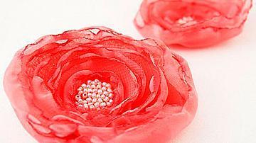 Как да си направим брошка цвете от шифон (',органза)