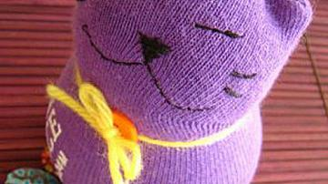 Детска играчка коте от чорап