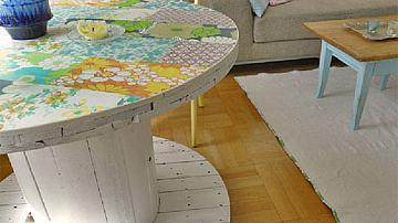 Кръгла маса от дървена макара за кабели