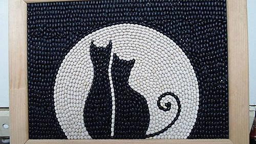 Пано от боб - влюбени котета