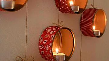 Романтично осветление от консервени кутии и чаени свещи