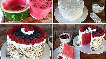 Сметанова торта от диня и горски плодове