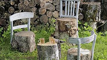 Столове за градината от пънове