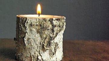 Свещник от дървено пънче
