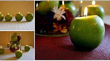 Декоративен свещник от зелена ябълка