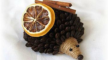 Как да си направим таралеж от кафени зърна