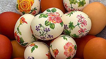 Великденски яйца, украсени с декупаж
