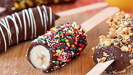 Замразени банани с шоколадова глазура
